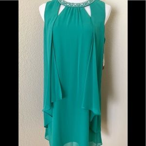 Teal green special occasion dress tent dress